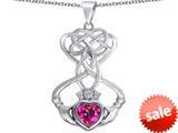 Celtic Love By Kelly ™ Celtic Knot Claddagh Heart Pendant with Heart Shape Created Pink Sapphire style: 309546