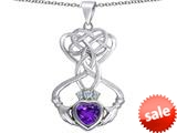 Celtic Love By Kelly ™ Celtic Knot Claddagh Heart Pendant with Heart Shape Simulated Amethyst style: 309549