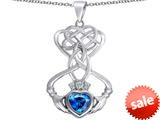 Celtic Love By Kelly ™ Celtic Knot Claddagh Heart Pendant with Heart Shape Simulated Blue Topaz style: 309551