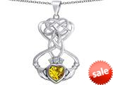 Celtic Love By Kelly ™ Celtic Knot Claddagh Heart Pendant with Heart Shape Simulated Citrine style: 309552