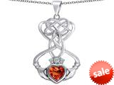 Celtic Love By Kelly ™ Celtic Knot Claddagh Heart Pendant with Heart Shape Simulated Orange Mexican Fire Opal style: 309555