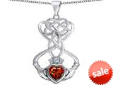 Celtic Love By Kelly ™ Celtic Knot Claddagh Heart Pendant with Heart Shape Simulated Garnet style: 309556