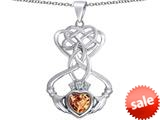 Celtic Love By Kelly ™ Celtic Knot Claddagh Heart Pendant with Heart Shape Simulated Imperial Yellow Topaz style: 309558