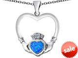 Celtic Love By Kelly ™ Celtic Claddagh Heart Pendant with Heart Shape Created Blue Opal style: 309559