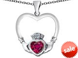 Celtic Love By Kelly ™ Celtic Claddagh Heart Pendant with Heart Shape Created Ruby style: 309562