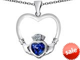 Celtic Love By Kelly ™ Celtic Claddagh Heart Pendant with Heart Shape Created Sapphire style: 309563