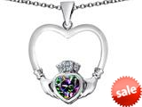 Celtic Love By Kelly ™ Celtic Claddagh Heart Pendant with Heart Shape Rainbow Mystic Topaz style: 309564