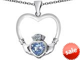 Celtic Love By Kelly ™ Celtic Claddagh Heart Pendant with Heart Shape Simulated Aquamarine style: 309566