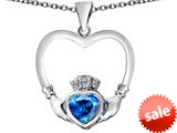 Celtic Love By Kelly ™ Celtic Claddagh Heart Pendant with Heart Shape Simulated Blue Topaz style: 309567