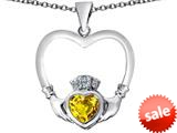 Celtic Love By Kelly ™ Celtic Claddagh Heart Pendant with Heart Shape Simulated Citrine style: 309568