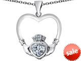 Celtic Love By Kelly ™ Celtic Claddagh Heart Pendant with Heart Shape Simulated White Topaz style: 309569