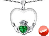 Celtic Love By Kelly ™ Celtic Claddagh Heart Pendant with Heart Shape Simulated Emerald style: 309570