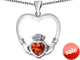 Celtic Love By Kelly ™ Celtic Claddagh Heart Pendant with Heart Shape Simulated Orange Mexican Fire Opal style: 309571