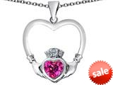 Celtic Love By Kelly ™ Celtic Claddagh Heart Pendant with Heart Shape Created Pink Sapphire style: 309572