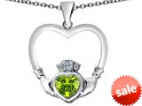Celtic Love By Kelly ™ Celtic Claddagh Heart Pendant with Heart Shape Simulated Peridot style: 309573