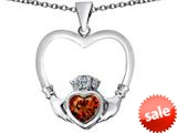 Celtic Love By Kelly ™ Celtic Claddagh Heart Pendant with Heart Shape Simulated Garnet style: 309574