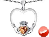 Celtic Love By Kelly ™ Celtic Claddagh Heart Pendant with Heart Shape Simulated Imperial Yellow Topaz style: 309575