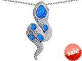 Original Star K™ Good Luck Snake Pendant with Simulated Blue Opal Stones style: 309576