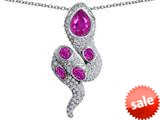 Original Star K™ Good Luck Snake Pendant with Created Pink Sapphire Stones style: 309578
