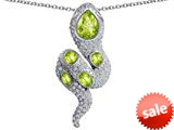 Original Star K™ Good Luck Snake Pendant with Simulated Apple Green Amethyst Stones style: 309583