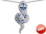 Original Star K™ Good Luck Snake Pendant with Simulated Aquamarine Stones style: 309584