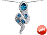 Original Star K™ Good Luck Snake Pendant with Simulated Blue Topaz Stones style: 309585