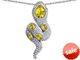 Original Star K™ Good Luck Snake Pendant with Simulated Citrine Stones style: 309586