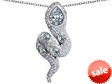 Original Star K™ Good Luck Snake Pendant with Simulated White Topaz Stones style: 309587