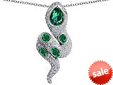 Original Star K™ Good Luck Snake Pendant with Simulated Emerald Stones style: 309588