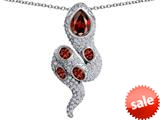 Original Star K™ Good Luck Snake Pendant with Simulated Garnet Stones style: 309590