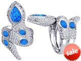 Original Star K™ Good Luck Snake Ring with Simulated Blue Opal Stones style: 309593
