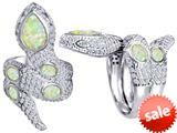 Original Star K™ Good Luck Snake Ring with Simulated Opal Stones style: 309594