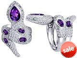 Original Star K™ Good Luck Snake Ring with Simulated Amethyst Stones style: 309599