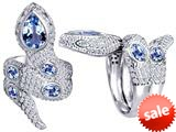 Original Star K™ Good Luck Snake Ring with Simulated Aquamarine Stones style: 309600