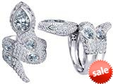 Original Star K™ Good Luck Snake Ring with Simulated White Topaz Stones style: 309603
