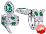 Original Star K™ Good Luck Snake Ring with Simulated Emerald Stones style: 309604