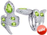 Original Star K™ Good Luck Snake Ring with Simulated Apple Green Amethyst Stones style: 309607