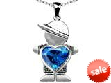 Original Star K™ Boy Holding 8mm Mother Heart December Birthstone Pendant with Simulated Blue Topaz style: 309610