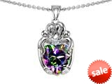 Original Star K™ Loving Mother And Twins Family Pendant With Heart Shape Rainbow Mystic Topaz style: 309611