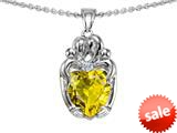 Original Star K™ Loving Mother And Twins Family Pendant With Heart Shape Simulated Citrine style: 309612