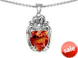 Original Star K™ Loving Mother And Twins Family Pendant With Heart Shape Simulated Orange Mexican Fire Opal style: 309613