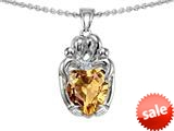 Original Star K™ Loving Mother And Twins Family Pendant With Heart Shape Simulated Imperial Yellow Topaz style: 309614