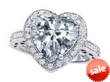 Original Star K™ Large 10mm Heart Shape Genuine White Topaz Engagement Wedding Ring style: 309618