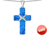 Original Star K™ Large Christian Cross Pendant with Emerald Cut Created Blue Opal Stones style: 309619