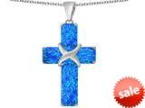 Original Star K™ Large Christian Cross Pendant with Emerald Cut Created Blue Opal Stones style: 309619