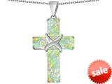Original Star K™ Large Christian Cross Pendant with Emerald Cut Created Opal Stones style: 309620