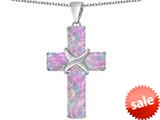Original Star K™ Large Christian Cross Pendant with Emerald Cut Created Pink Opal Stones style: 309621