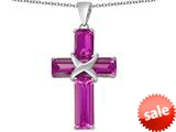 Original Star K™ Large Christian Cross Pendant with Emerald Cut Created Pink Sapphire Stones style: 309622