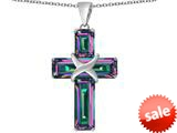 Original Star K™ Large Christian Cross Pendant with Emerald Cut Rainbow Mystic Topaz Stones style: 309624