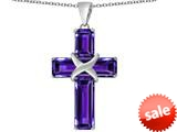 Original Star K™ Large Christian Cross Pendant with Emerald Cut Simulated Amethyst Stones style: 309625